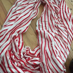 NWT Red and white waffle knit infinity scarf